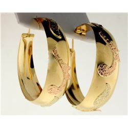 Rose and Yellow Gold Designer Large Hoop Earrings