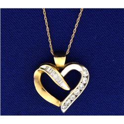 1/2 ct TW Diamond Heart Pendant in White and Yellow Gold With Chain