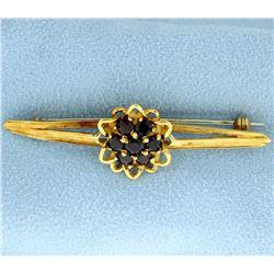 Vintage 18k Yellow Gold and Garnet Pin