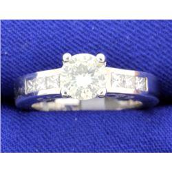 1.18 CT 18k white gold diamond engagement ring