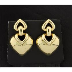 14K Dangle Heart Earrings