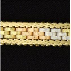 Italian Made Yellow, White, & Rose Gold Bracelet