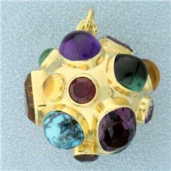 18k Gold Sputnik Miner's Large Ball Charm Pendant
