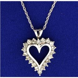 1ct TW Diamond Heart Pendant with Chain