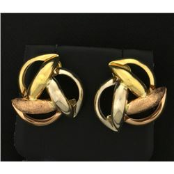 Rose, White and Yellow Gold Designer Earrings