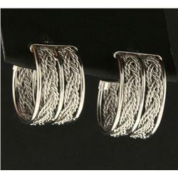 Wide Woven Hoop Earrings