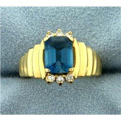 London Blue Topaz and Diamond Ring