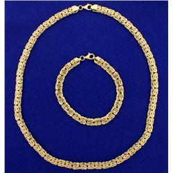 Byzantine Link Necklace and Bracelet Set in 14k Gold