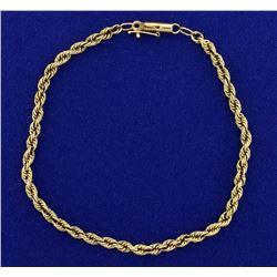 8 Inch Rope Style Bracelet in 14k Gold