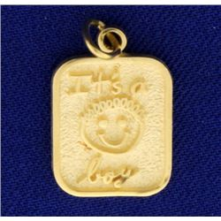 14k Gold It's a Boy Pendant