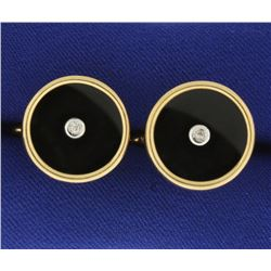 Onyx and Diamond Cufflinks
