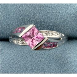 Pink Topaz and Diamond Ring
