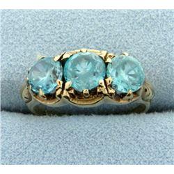 Antique 3 Stone Blue Topaz Ring