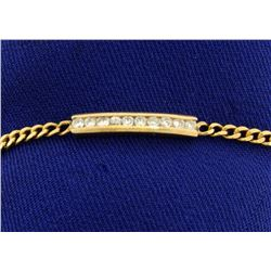 Curb Link Bracelet with Diamonds in 14k Gold