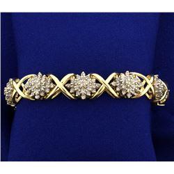 Over 7 ct TW Diamond Bracelet in 14k Gold