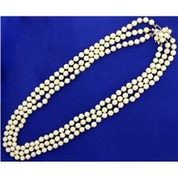 Antique Diamond and Akoya Pearl Triple Strand Necklace