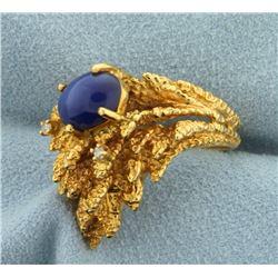 Custom Leaf Design Star Sapphire and Diamond Ring