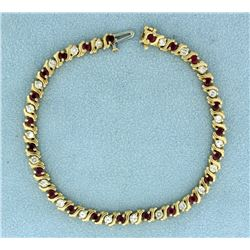3ct TW Ruby and Diamond Tennis Bracelet