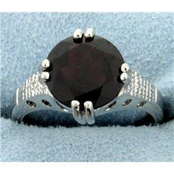 Huge 3.8ct round Garnet Ring with Diamonds