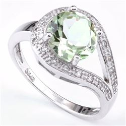 Green Amethyst Ring with White Sapphire in Sterling Silver
