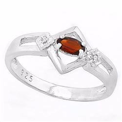 Art Deco Inspired Garnet and Diamond Ring in Sterling Silver