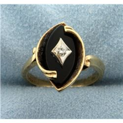 Gold Onyx and Diamond Ring