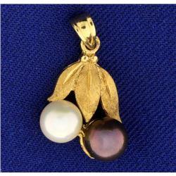 Leaf Design White and Black Pearl Pendant