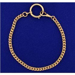 9 1/2 Inch Antique Rose Gold Curb Bracelet or Anklet in 14k Rose Gold