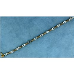 Over 6 ct Blue Topaz and Diamond Bracelet
