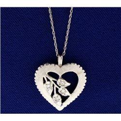 Vintage Diamond Heart Pendant with Chain