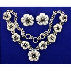 Designer Heavy Sterling Silver Necklace and Earrings Flower Design Set