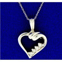 Diamond 14K White Gold Heart Pendant