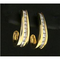1 Carat Princess Cut Diamond J Shaped Dangle Earrings
