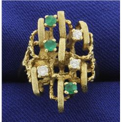 Custom Made Unique Emerald and Diamond Ring