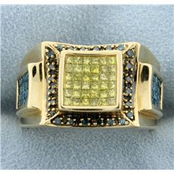 1.75ct Total Weight Fancy Blue & Yellow Diamond Ring