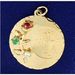 Merry Christmas Charm or Pendant with Ruby, Emerald, and White Sapphire