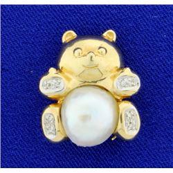Pearl & Diamond Bear Pendant/Pin