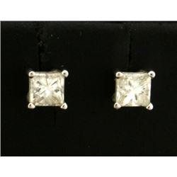 3/4ct TW Princess Cut Diamond Stud Earrings