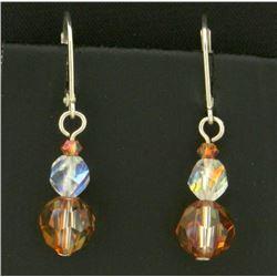 Sterling Silver Dangle Crystal Bead Earrings