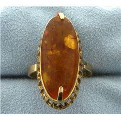 Large Amber Gemstone Ring