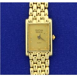 Vintage Solid 14k Gold Christian Geneve Woman's Watch