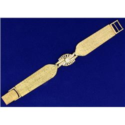 Vintage 1.5 ct TW Diamond and Gold Woven Mesh Bracelet