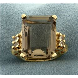 10ct Smoky Topaz and White Sapphire 14k Gold Ring
