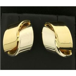 Ribbon Design White and Yellow Gold Earrings