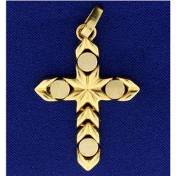 14k Gold Unique Flexible Cross Pendant
