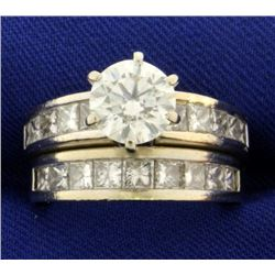GIA Certified 3.7ct TW Diamond Engagement Ring and Wedding Band Set