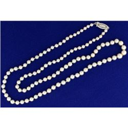 Graduated Akoya Pearl Necklace with 14k White Gold Clasp