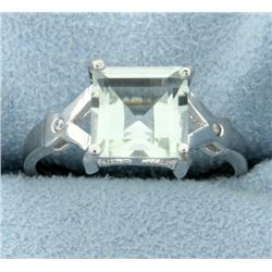Modern 2.57ct Green Amethyst Ring with Diamonds