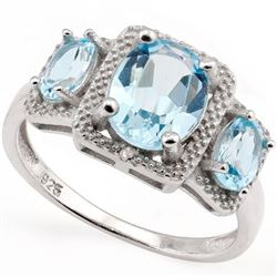 Large 3 Stone Sky Blue Topaz Art Deco Inspired Ring in Sterling Silver with Diamonds