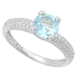 Baby Swiss Blue Topaz Ring with Diamond in Sterling Silver